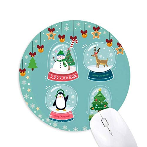 Frohe Weihnachten Schneemann Geschenkbaum Maus Pad Jingling Bell Round Rubber Mat