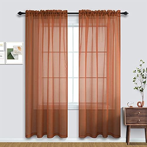 Terracotta Curtains 84 Inch Length for Living Room 2 Panel Sets Rod Pocket Sheer Curtains for Living Room Rust Burnt Orange Red
