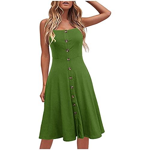Ykghfd Vestido de verano sin espalda para mujer, sexy, informal, para playa, con correa de espagueti, verde, M