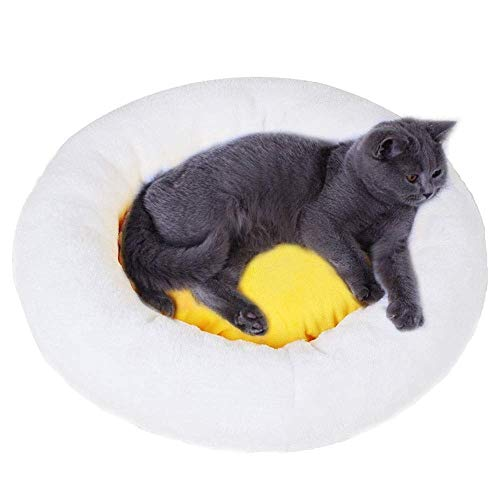 MSPWE Pet Nest - Katzenstreu Hundehütte waschbar Eigelb Katze Bett Haustier Katze...