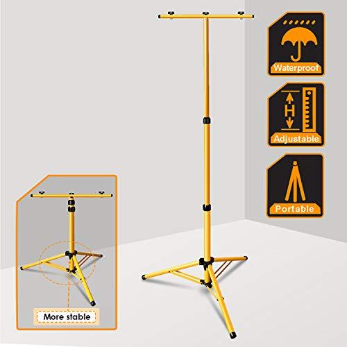 wolketon Teleskop Treppiede per Faro Faretto LED, regolabile in altezza fino a 160cm, Metallo, Treppiede telescopico per cantieri