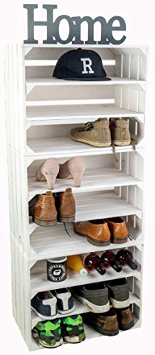 3 x Schuhschrank Schuhablage Schuhkommode Flur Sitzbank Organizer Schuhbank Standregal Garderobe aus Holz Maße 50x30x40cm (je Kiste) stabiles Regal in Obstkisten Optik (3er set weiss)