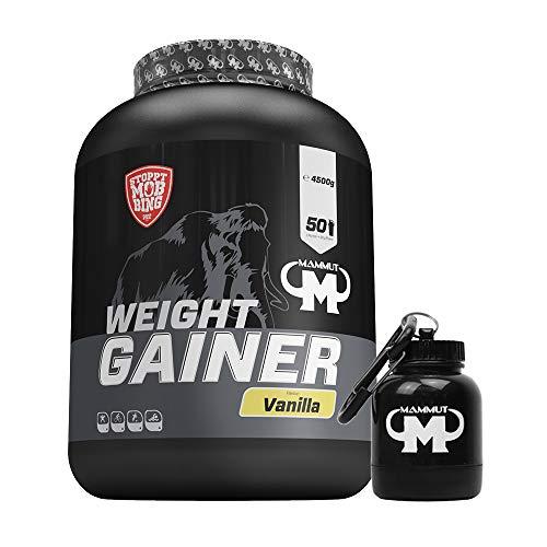 4,5kg Mammut Weight Gainer Crash 5000 für Hardgainer - Set inkl. Protein Shaker oder Powderbank (Vanilla, Gratis Mammut Powderbank)