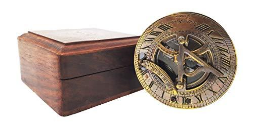 Antikes Messing Sonnenuhr Kompass Marine Boot Geschenk Tasche Sonne Zifferblatt in Box Nautische Marine Geschenk Sonne Uhr