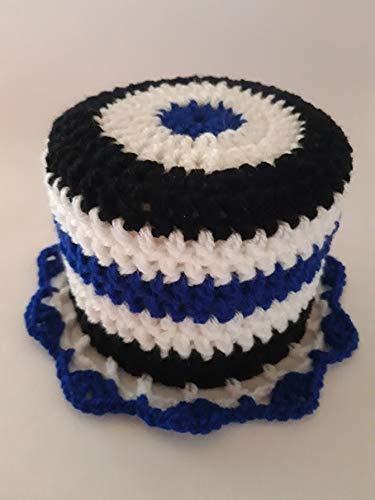 Storchenlädchen Klohut, blau weiß schwarz Klohüte Klopapierhut Klopapierhüte Toilettenpapierhut Toilettenpapierhüte