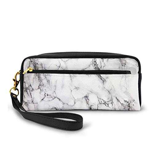 Leather Pencil Case Hipster Marble Stone Portable Cosmetic Bag Makeup Pen Holder Box for Women Girls