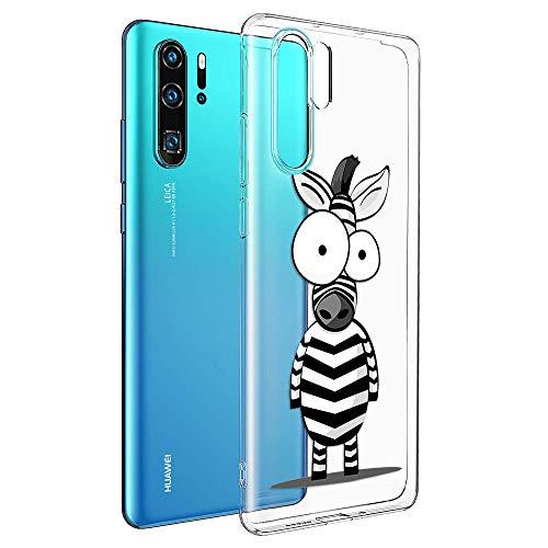 ZhuoFan Cover Huawei P30 PRO, Custodia Cover Silicone Trasparente con Disegni Ultra Slim TPU Morbido Antiurto 3D Cartoon Bumper Case Protettiva per Huawei P30 PRO (Zebra)