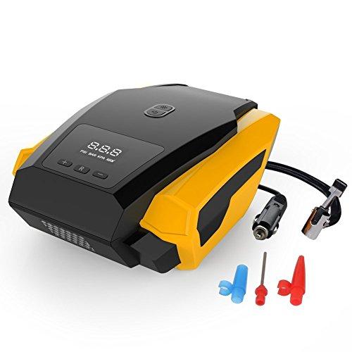 HMK - Gonfleur numérique de pneu de voiture, portable, avec arrêt automatique et lampe LED 12 V DC - 150 PSI - 3 adaptateurs de soupape