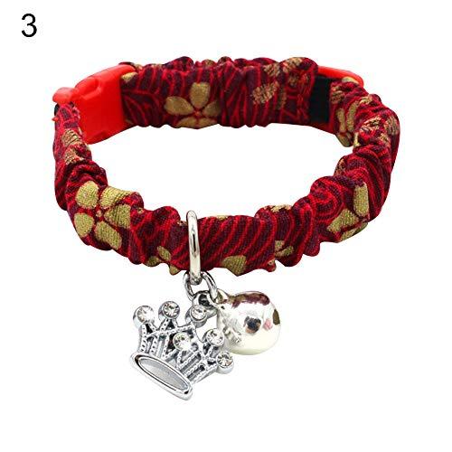Lai-LYQ Elastische halsband voor puppy's met klok in hartvorm en visvorm voor huisdieren - 4#XS, 3#S, 3#S