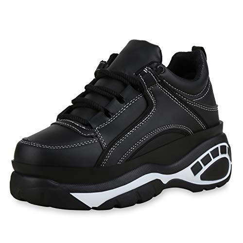 SCARPE VITA Damen Chunky Sneaker Plateau Turnschuhe Schnürer Leder-Optik Schuhe Derbe Freizeitschuhe Profilsohle 183222 Schwarz White 39