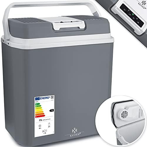KESSER® 24 Liter Kühlbox | KÜHLT und WÄRMT | Thermo-Elektrische Kühlbox 12 Volt und 230 Volt | Mini-Kühlschrank | für Auto und Camping | EEK A+++ | Mini-Kühlschrank | Auto und Camping Grau