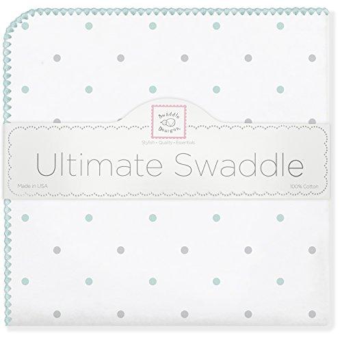 SwaddleDesigns Ultimate Couverture Emmailotage, Flanelle de Coton de première qualité, Mini Pois SeaCrystal et Gris Argenté