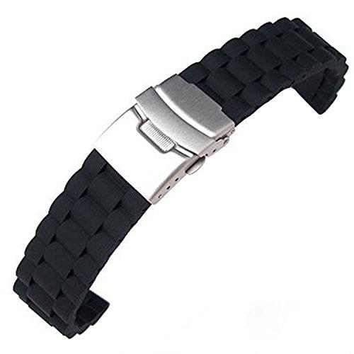 TOOGOO (R) Cintura silicone impermeabile cinturino a chiusura pieghevole 20 mm, nero