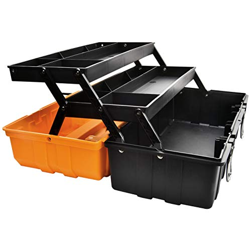 17Inch MultiPurpose 3Layer Toolbox with Tray and DividersHousehold Plastic Tool OrganizersOrange Folding Storage Box
