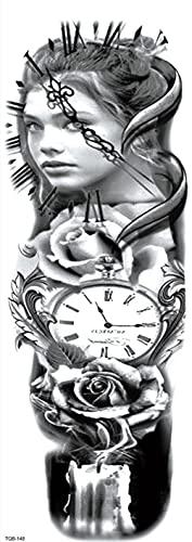 Reloj Y Mapa Mujer Todos Los Brazos 17X48cm-5Pcs Tatuajes Temporales Pegatina Impermeable Arte Adhesivo Conjunto De Cubierta Para Hombres Adultos Mujeres Niños Impermeables Extraíbles No Tóxicos