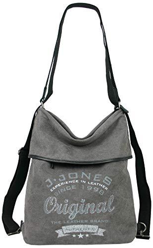 JJones Große Damen Rucksack Handtasche aus Leder und Canvas - eine Tasche Rucksack Kombination (Grau)