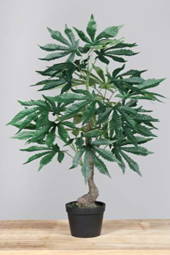 mucplants Hochwertiger künstlicher Marihuana-Baum Höhe ca. 60cm im mattschwarzen Topf Marihuana Strauch Pflanze Hanfpflanze Cannabis