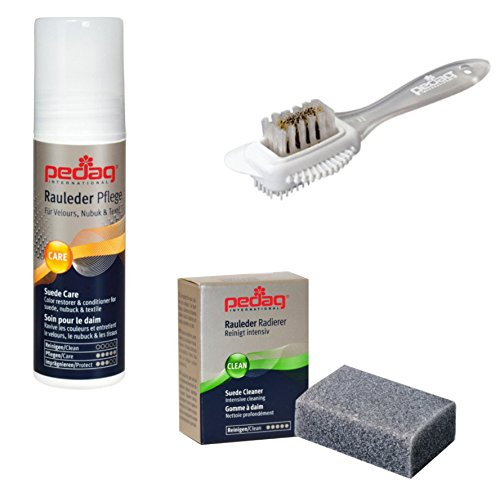 Pedag Suede Cleaner and Textile Color Restorer, 3 pc Cleaning and Care Kit for Shoes and Boots, Made in Germany, Neutral Color