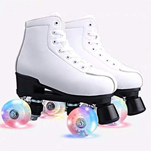 Women's Roller Skates PU Leather High-top Roller Skates Four-Wheel Roller Skates Shiny Roller Skates...