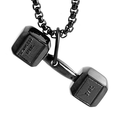 LAMUCH Collar Colgante Negro Aptitud Gimnasio con Mancuernas de Peso del Acero Inoxidable Unisexo para Mujer para Hombre