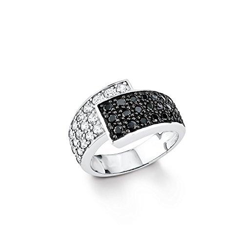 Amor Damen-Ring 925 Sterling Silber rhodiniert glänzend Zirkonia schwarz/weiß 439893
