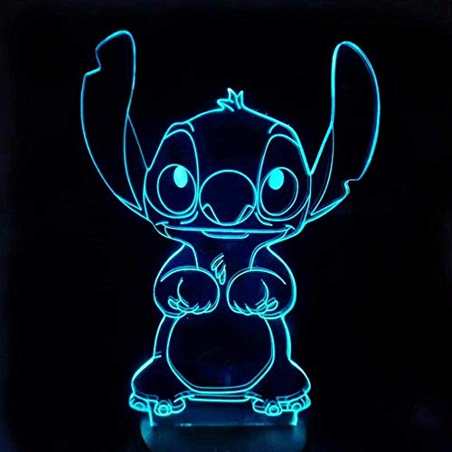 Creativity 3D Illusion Lamp Lilo & Stitch Picture Night Light 16 Colors Changing with Smart Touch and Remote Control Table Lamp with USB Power Cable Perfect Gifts for Children