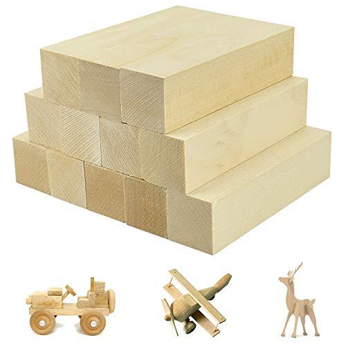 FAVENGO 12 Stk Lindenholz Schnitzen Natürlich Schnitzholz Rohlinge Balsaholz zum Schnitzen Holzblöcke Unbehandelt Schnitzblock (10*2.5*2.5cm)Basswood Carving Blocks für kinder Erwachsene DIY Schnitze