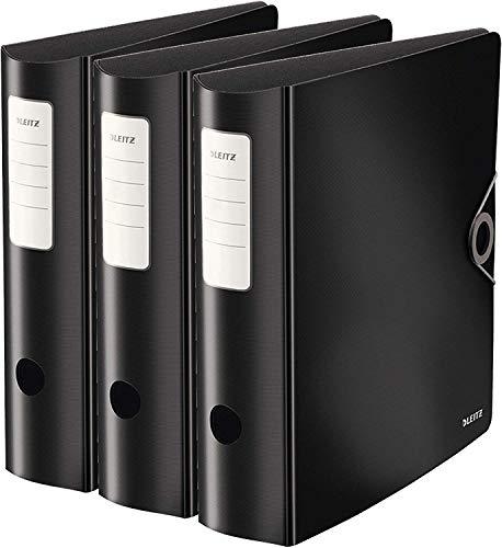 Leitz Qualitätsordner, 180° aktiv solid breit (82mm | 3er Pack, schwarz)