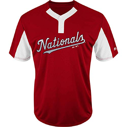 Blank Back Adult XL Washington Nationals 2-Button Cool-Base Jersey Red