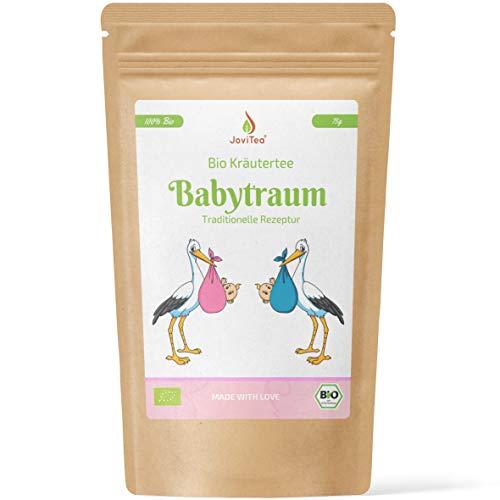 JoviTea® Babytraum Tee BIO – Traditionelle Rezeptur - spezielle Kräutermischung – aus kontrolliert biologischem Anbau. 100{4750f01e751f16385d39bbdb1614099ab412bd8f61c164097db8d2a62556a3f2} natürlich und ohne Zusatz von Zucker - 75g
