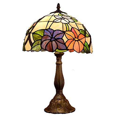 GDICONIC Table Lamp Lamp European Retro Tiffany Style Desk Lamp Study Bedroom Bedside Lamp Stained Glass Art Lotus Decoration Table Light 30 * 50cm