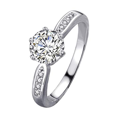RKWEI Anillos 1,5 Quilates Imitación Oro De 18 Quilates Y Oro Blanco De Seis Garras Modelo Femenino Anillo De Diamante De Simulación De Matrimonio@7.5