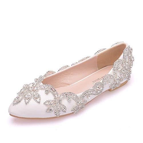 xiangqian Avondjurk bruid trouwschoenen party paleis schoenenStrass Bruidsschoenen Platte onderkant Strass Bruidsschoenen Punt Hoofd Bruiloft Schoenen Kristallen Schoenen Bruiloft Vrouwen Lage hakken (1-3CM)