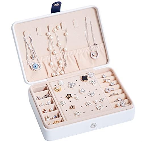 RWEAONT Caja de joyería portátil multifunción PU Pendientes Frescos y Sencillos de Cuero para el Collar de Almacenamiento Jewellry Regalo de la Caja del Collar