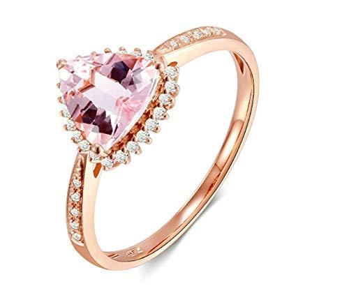 Bishilin Damen Ringe 750 Ehering Solitärring mit Herz Beryll 0.9 CT Hochzeitsring Rosegold Verlobungsring Diamant Gr.58 (18.5)