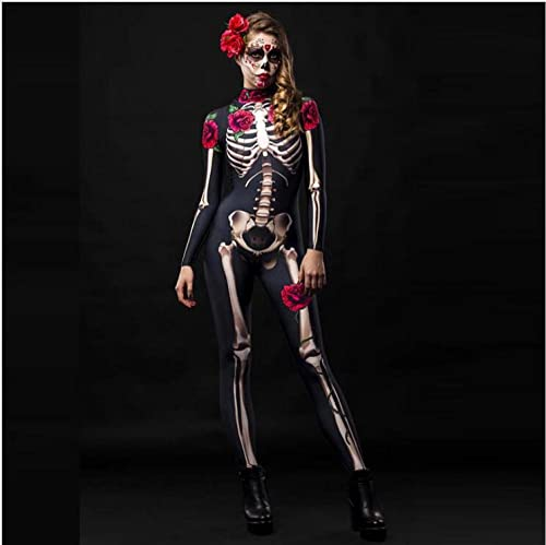ArcherWlh Holloween,Leggings Push Up Mujer Deporte,Mono de Esqueleto de Calavera de Terror Europeo y Americano de Halloween, Disfraz de Cosplay, Ropa para nios, Adultos-Color de la Foto_S