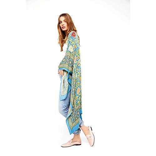 YYH Vrouwen Cardigan lange chiffon sjaal print Kimono Cardigan Boho bloemenprint Flowy Tops Vertukking blouse Eén maat 1