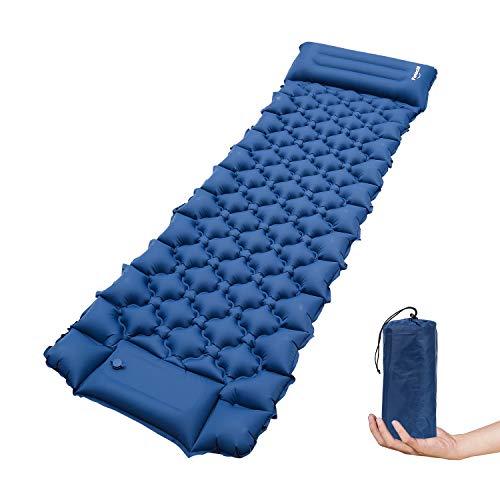 TolleTour Isomatte Selbstaufblasbare Camping,Fußpresse Aufblasbare Ultraleicht Luftmatratze Camping Matratze Outdoor Luftbett für Wanderungen Reisen