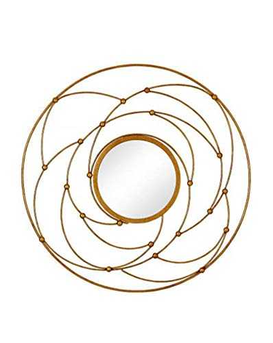 Majestic Mirror Round Contemporary Gold Leaf Metal Decorative Accent Mirror