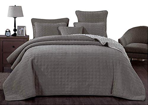 Purchase DaDa Bedding Corduroy Sherpa Backside Bedspread - Soft Grey Square Pattern Quilted Coverlet...