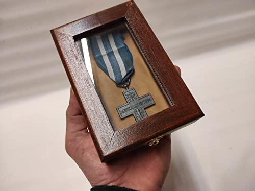 Caja de madera para una medalla con cinta vitrina archivadora personalizable terciopelo militar