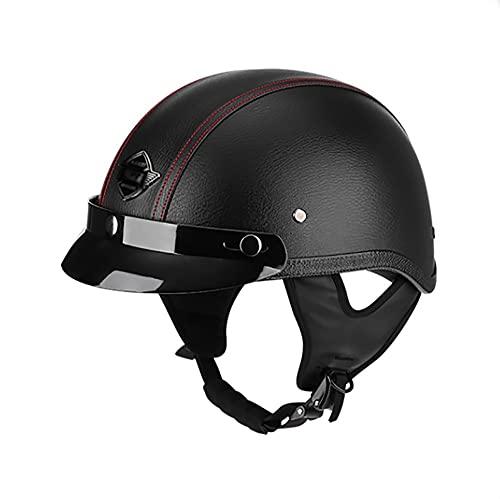Medio casco de motocicleta de moda Casco de motocicleta de cara abierta La certificación ECE unisex para adultos es adecuada para monopatín de motocicleta cruiser A,XL