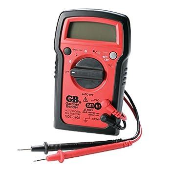 Gardner Bender GDT-3200 Digital Multimeter 7 Funct 7 Range Tests AC/DC Volt Resist Diode Continuity Temp and Battery Auto Ranging