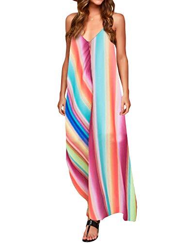 ZANZEA Vestidos Mujer Verano Mujer Rayado Largo Vestido Lady Beach Verano Sundress Maxi Vestido de Talla Grande Vestidos Largos de Fiesta Colorear B86694-1-1 36