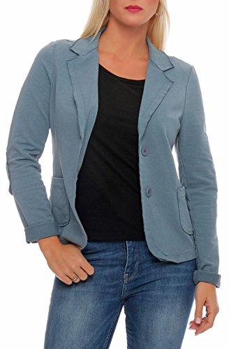 Malito Damen Blazer klassisch | Sakko im Basic Look | Kurzjacke mit Knöpfen | Jacke - Jackett - Blouson 1651 (Jeansblau, XL)