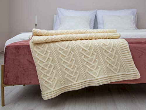 Irish Aran Throw Blanket with Knitted Cable Heart Pattern 100% Super Soft Merino Wool