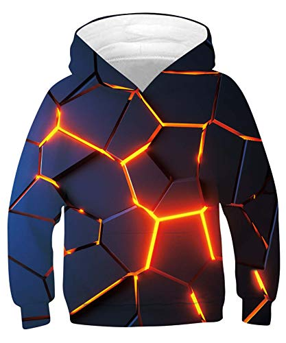 ALISISTER Unisex Kinder Hoodie 3D Lustig Optische Täuschung Drucken Kapuzenpullover Jungen Mädchen Herbst Winter Langarm Hooded Sweatshirt S