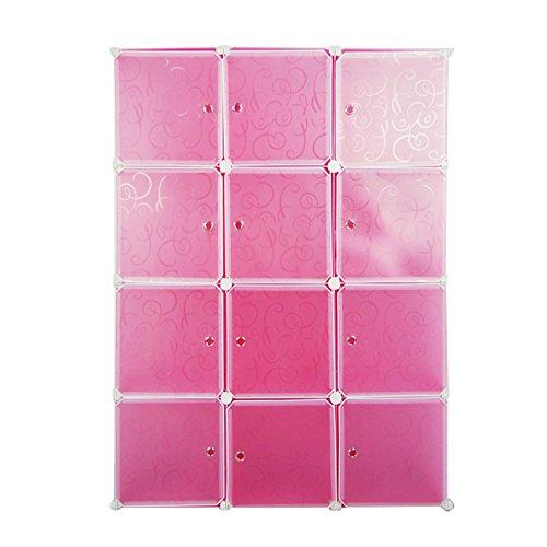 Regalsystem DIY Regal Schrank Garderobenschrank Kleiderschrank Aufbewahrung Kapazit(pink-tou)