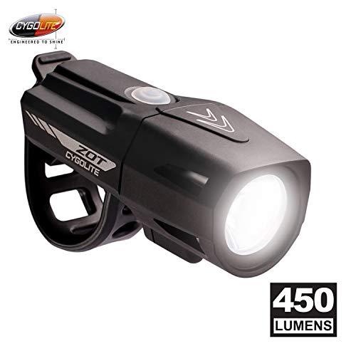Cygolite Zot– 450 Lumen Bike Light– 5 Night & 2 Daytime Modes– Sleek Durable Design– IP67 Waterproof– Sturdy Flexible Mount– USB Rechargeable Headlight– for Road & Commuter Bicycles