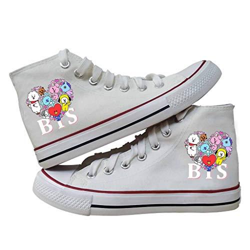 HJJ Zapatos bts BTS lindos de la historieta del carácter de impresión zapatos de lona con cordones Kpop top del alto de los zapatos ocasionales de la Escuela Deportivas Botas de béisbol - Peso ligero